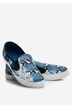 Modne slip ony snake blue