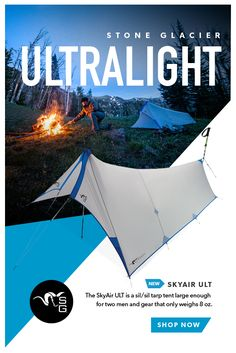 the Skyair Ultimate is a sil/sil tarp tent large enough for two men and gear, with the tent weight being only 8 oz. ideal for your fall hunt, get yours while supplies last! Camping Survival, Camping And Hiking, Survival Gear, Survival Skills, Camping Gear, Camping Hacks, Outdoor Camping, Outdoor Gear, Camping Stuff