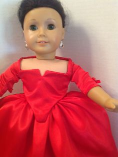 American Girl doll clothes-OOAK-Claire red Versailles dress from Outlander