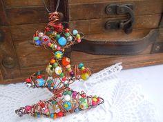 decorazione albero  Bohemian, ciondolo di Natale, ciondolo colorato, idea regalo Natale, Bohemian decorazione Natale