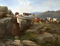 Knitting Milkmaid With Cows On Summer Pasture, Axel Ender (1853 – 1920, Norwegian)