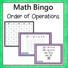 Order of Operations Bingo. (Exponents up to the third power and  parentheses)  Students are motivated to complete the problems. Every  answer is on their board which allows students to self check and try  again if needed. The PPT file allows the teacher to show it to the whole  class on a screen or students can work independently in a center.     *** Now includes an online version of the questions that is Chromebook compatible*** Simone's Math Resources