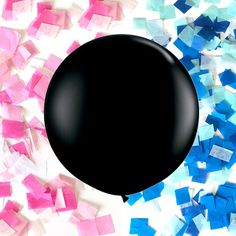 36 inch Gender Reveal Baby Shower Party Black Latex Balloon with Pink or Blue Hand-Cut Confetti | by CelebrationLane