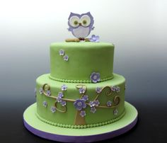 Owl baby shower cake from our NJ cake bakery. Custom designed New Jersey cake from Confectionary Designs.