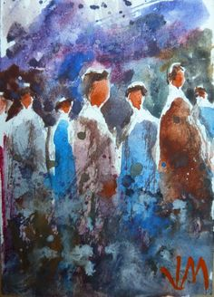 """ACEO Collectible Art Original Watercolor Painting """"Crowd"""" #Realism"""