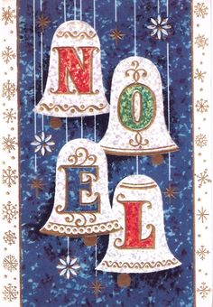 Vintage Christmas Card Pretty Bells Text Noel by PaperPrizes