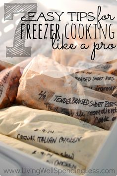 There is nothing quite as reassuring to a busy mom as knowing you have a freezer full of delicious meals ready to get you through a hectic week. 7 awesome tips for freezer cooking like a pro. Make Ahead Freezer Meals, Freezer Cooking, Crock Pot Cooking, Cooking Tips, Easy Meals, Cooking Recipes, Cooking Classes, Bulk Cooking, Cooking Games