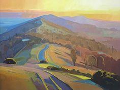 Malvern colour Anthony Bridge painting of Malvern Hills