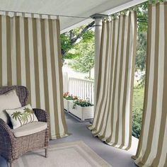 Beachcrest Home Berklee Striped Room Darkening Outdoor Tab Top Single Curtain Panel Panels sold individuallyHook & Loop Fastener tab topSuitable for both outdoor useLength includes height of header #ad #beachhouse #patio #balcony