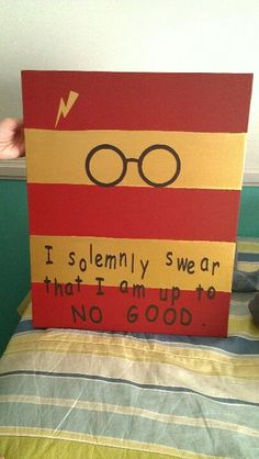 Harry potter canvas i solemnly swear that i am up to no good - harry potter glasses - lightening bolt scar - red and gold Harry Potter Canvas, Harry Potter Painting, Harry Potter Room, Harry Potter Birthday, Harry Potter Hogwarts, Canvas Crafts, Diy Canvas, Gold Canvas, Canvas Ideas