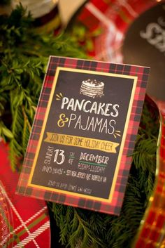 Rustic invite at a Christmas holiday party! See more party planning ideas at CatchMyParty.com!