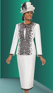 Ben Marc 48023 ( 3pc Exclusive Satin Women Church Suit With Grid Design Jacket )