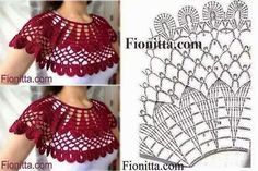 Crochet sweater women scarfs 25 Ideas for 2019 Col Crochet, Poncho Au Crochet, Crochet Lace Collar, Crochet Cape, Crochet Diagram, Crochet Blouse, Crochet Scarves, Crochet Clothes, Crochet Stitches