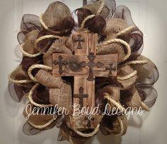 Door wreath Christian/Cross
