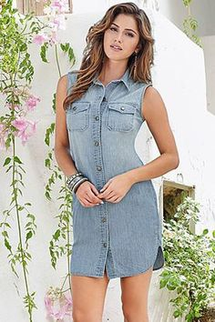 pas cher Mini Robes Button Down Manches Denim Robe Chemise  #robejeans modebuy.com