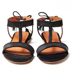 Stylish Leather Sandals with Soft Suede Uppers SEZANE