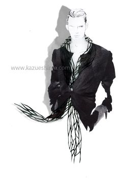 Cut the FASHION! -Mens Long Stole Fashion illustration-