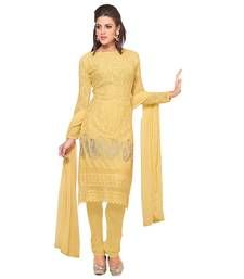Buy White and pink embroidered chiffon unstitched salwar with dupatta Online