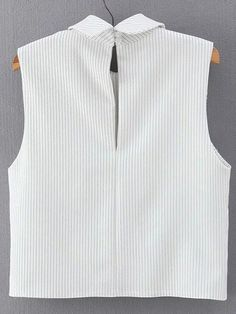 Shop Vertical Striped Wrap White Shirt at ROMWE, discover more fashion styles online. Dress Patterns, Sewing Patterns, Sewing Blouses, Tunic Pattern, Short Tops, Vertical Stripes, White Shirts, Mode Style, Romwe