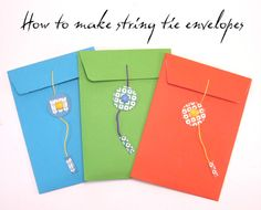 six0six design: Craft Tutorial 2: How to make a string tie envelope.
