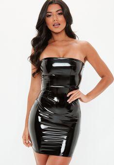 6f612aebf15b Black Bandeau Vinyl Mini Dress