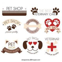 Pacote agradável de logotipos com elementos de origem animal