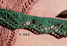 Knitted Edging - free vintage pattern from Edgings for All Purposes, Clark's O.N.T. J Coats, Book No. 288, in 1952.