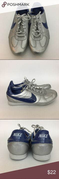 Nike classic sneakers, silver & blue, youth, 7Y Nike Gradeschool Sprint Sister Silver Classic Sneaker Silver and blue Size 7Y (youth)  This is for girls but should be able to fit women too.  Great condition. Nike Shoes Sneakers