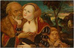 LUCAS CRANACH d.Ä. (1472 Kronach-1553 Weimar), Umkreis, Ungleiches Paar mit flötendem Knaben, Öl/Holz, Maße: 28x42,5 cm