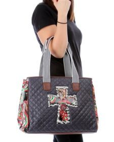View Item Designer Inspired Quilted Navy Tote With Cross