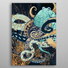 Metallic Octopus II Poster made out of metal. Abstract depiction of an octopus and coral with blue, gold and aqua Octopus Painting, Octopus Art, Painting & Drawing, Coral Painting, Jellyfish Art, Trash Art, Poster Making, Animal Paintings, Oeuvre D'art