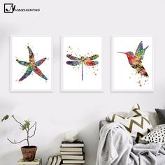 Watercolor Starfish Dragonfly Bird Canvas Poster Minimalist Art Canvas Painting Wall Picture Modern Home Kids Room Decoration Bird Canvas, Canvas Wall Art, Wall Art Prints, Painting Prints, Kids Room Wall Art, Wall Art Decor, Room Decor, Christian Decor, Simple Prints