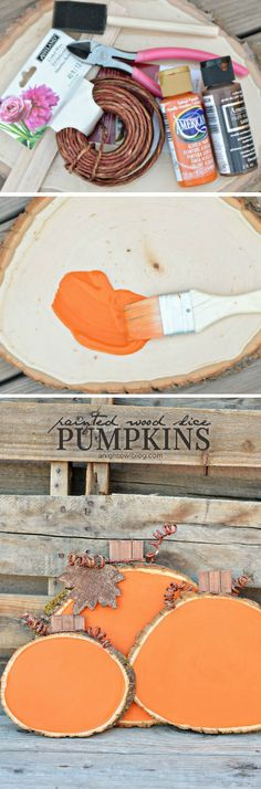 Painted Wood Slice Pumpkins- I think I would sand some of the orange paint off to make it look rustic or do an orange paint wash to let the wood grain show through.- wood burn into it happy fall or halloween Thanksgiving Crafts, Fall Crafts, Holiday Crafts, Holiday Fun, Diy Crafts, Wooden Crafts, Thanksgiving Decorations, Wood Slice Crafts, Seasonal Decor