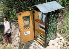 """""""That's how we knew it was catching on, people started leaving books,"""" said Barbara Balaguer Blundell. She and Charlotte Overby created the honor-system library. The library asks readers to take a book and leave another, if possible. #littlefreelibrary"""