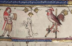 A dancing dog, and a rooster, clearly deperate for attention, dancing on stilts. (Oxford, Bodleian Library, MS Bodley 264 14th c)