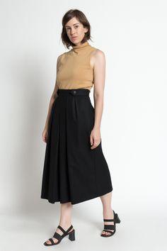 Vintage 80s Black Wool High Waist Pleated Full Midi Skirt   4