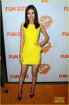 Victoria Justice.   Versace dress and shoes.