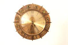 Mid Century ATLANTA ZODIAC Sign Brass Clock 1950s 1960s Brutalist by Vinteology on Etsy 12 Zodiac Signs, Brutalist, Vintage Home Decor, Clocks, Mid-century Modern, 1960s, Vintage Items, Atlanta, Mid Century