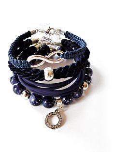 Set of 4 Bracelets Navy Blue Infinity Bracelet Beaded Bracelets Silk Rope Bracelet Woven & Braided Bracelets Friendship Bracelet Macrame by MadeByJoLis on Etsy