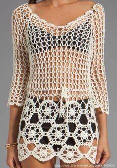 Kate's Crochet World Crochet Tunic, Crochet Jacket, Tunisian Crochet, Crochet Clothes, Crochet Stitches, Crochet Bikini, Knit Crochet, Crochet Designs, Crochet Patterns