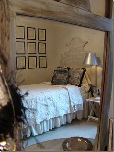 headboard made from cardboard box and an old book---so awesome but I'd rather use foam board so I don't have any bugs.