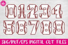 Free Baseball Softball Sports Numbers - SVG DXF EPS Cut Files work with Silhouette Design Studio and Cricut Design Space Baseball Font, Baseball Numbers, Baseball Crafts, Baseball Shirts, Sports Shirts, Baseball Field, Baseball Cap, Baseball Scrapbook, Alphabet