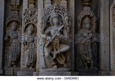 Image of the Hindu god Krishna playing a flute in Chennakesava temple, Somanathapura,Karnataka, India, Asia - Stock Image