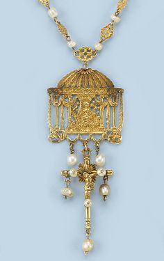 AN ANTIQUE PEARL NECKLACE The necklace composed of pierced lozenge and filigree links alternating with baroque pearls, supporting a pierced panel depicting a wealthy lady seated in a temple surround with columns and festoons below a canopy with acanthus and shell motifs, supporting a gold cross with pearl drops, probably South European, 17th Century