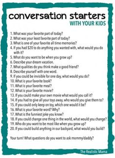 Ways to Make Family Dinners Awesome - The Realistic Mama 20 Conversation Starters for Kids - FREE PRINTABLE (print and use at family meals or bedtime!) Conversation Starters for Kids - FREE PRINTABLE (print and use at family meals or bedtime! Parenting Advice, Kids And Parenting, Parenting Quotes, Parenting Classes, Peaceful Parenting, Foster Parenting, Parenting Styles, Gentle Parenting, Fille Au Pair