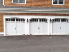 CHI Overlay Carriage style garage doors we installed in Weston MA. .goodrowdoor & C.H.I Carriage House collection model #5983 in Sandstone CHI ...