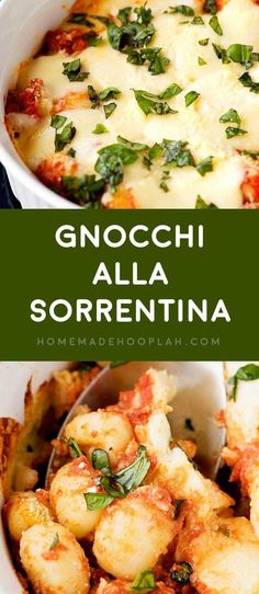 Gnocchi all Sorrentina! Delicious and tender gnocchi served sorrentina style: baked in a deep dish with homemade tomato sauce and flavored with lots of mozzarella and basil.   HomemadeHooplah.com