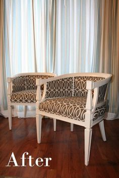 """tub chair makeover """"after"""" - so lovely it goes on both 'Reuse' and my decor board. #DIY"""