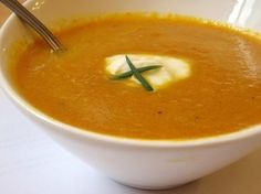 [Soup] ---- Carrot Ginger Soup:: 2 lb carrots, 1 qt stock, 3 Tbs butter or oil, 1 1/2 c coarsely chopped onions, 4 chopped cloves garlic, 2 Tbs freshly grated ginger, 1-2 Tbs sea salt, 1 tsp: cumin, fennel seeds, cinnamon, allspice, & dried mint, 3-4 Tbs fresh lemon juice, 1 c properly prepared* cashews. ---- Optional: Full fat yogurt, buttermilk, or other cultured dairy for serving