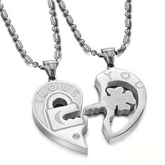 "Stainless Steel Couple Heart Shape ""I Love You"" Lock and Key Pendant Necklace Set His and Hers w/ Cr Key Necklace, Simple Necklace, Pendant Necklace, Pendant Jewelry, Couple Necklaces, Couple Jewelry, Key To My Heart, Heart Chain, Key Pendant"